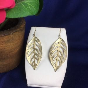 New Brushed Metal Leaf Drop Earrings